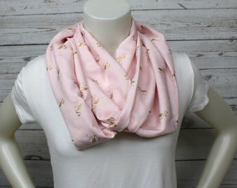 Pink and Gold Flamingo Infinity Scarf, Summer Scarf, Gold Flamingo Scarf, Spring Scarf