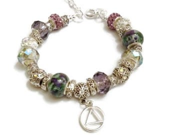 AA Beaded Charm Bracelet - Alcoholics Anonymous - Purple