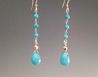 """Turquoise earrings -Sleeping Beauty Turquoise earrings ~ blue earrings ~ Turquoise jewelry ~ Southwest jewelry ~ """"Beauty Chain"""""""