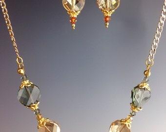 """Swarovski Crystal necklace,  Swarovski Jewelry, Autumn jewelry, statement necklace, autumn color jewelry, gold jewelry, """"Marseille"""""""