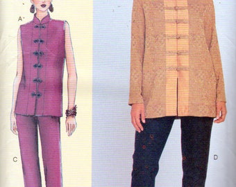 Vogue 7263, Asian Inspired Jacket and Cropped Pants, Plus Size 46 to 55 Inch Bust, Mandarin Collar, Frog Closures, Pull On Pants Side Pocket