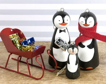 Family Ornaments - Penguin - Christmas Ornaments - Peg Doll  -  Ornaments - Christmas Decor - Personalized gift - Peg People -