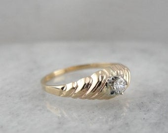 Diamond Solitaire Engagement or Birthstone Ring in Yellow Gold RKYFQN-P