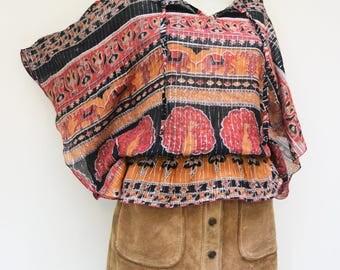 Indian cotton ethnic tunic blouse top s uk 8 10 12 . usa  4 6 8 elephants 90s  festival shirt