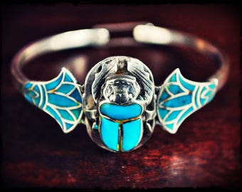 Scarab Turquoise Bracelet from Egypt - Scarab Bangle Bracelet - Egyptian Scarab Bracelet - Scarab Jewelry