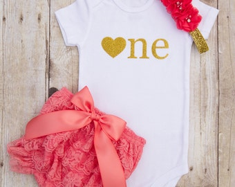 Cake Smash Outfit Girl...1st Birthday Girl Outfit...First Birthday Outfit Girl...Coral and Gold 1st Birthday...First Birthday Girl Outfit...