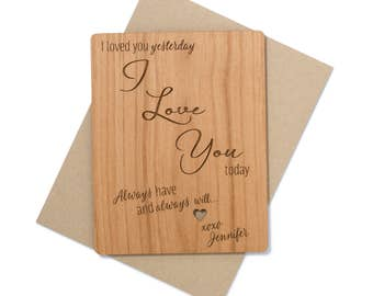 Romantic Personalized Gift. Wedding Anniversary Gift Mini Wood Card. 5th Year Wood Anniversary. I Love You Card Wood.