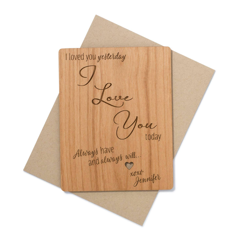 5th anniversary gift 5th wedding anniversary Wedding Anniversary Gift Mini Wood Card 5th Year Wood Anniversary I Love You Card Wood