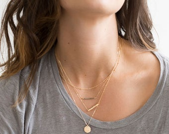 Set 932 Layered and Long Necklaces Sterling Silver Rose