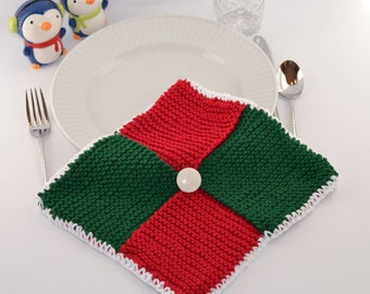 Knit Red and Green Pot Holder Ready to Ship