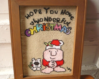 Vintage Ziggy Needlepoint Hope You Have a Wonderful Christmas Framed