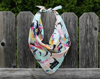 Gorgeous Bold Colors Spring Summer Dog Bandana Traditional Knot Tie Accessory Small Medium Large 'Graffiti'