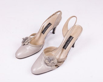 90's Mario Valentino Grey Leather Heels w/ Floral Accents