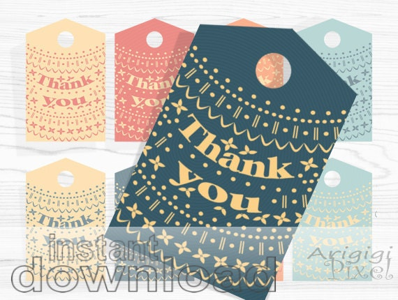 Nordic Thank You Tag Set - printable patterned gift tags in orange blue - winter gift labels - New Year gift tags