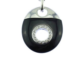Chunky Black and Silver Necklace with Rhinestones, Large Silver and Black Pendant, Black and Silver Necklace