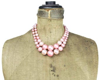 Chunky Pink Bead Necklace, Pink Glass Bead Necklace, Chunky Pink Necklace, Pink Double Strand Necklace