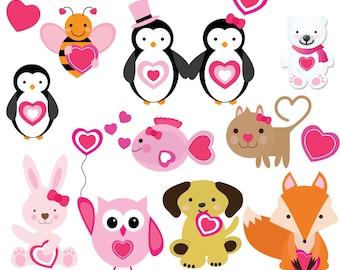 Valentine Clipart, Valentine Animals, Valentine Friends, Heart Clipart