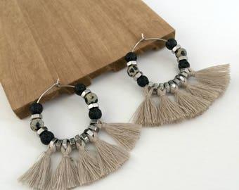 Beige tassels hoop earrings, large gray natural stone earrings, big boho chic tassel earrings, tribal hoop earrings, nulika