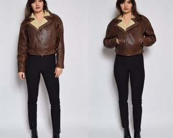 Vintage 90's Brown Leather Fur Jacket / Cropped Motorcycle Jacket / Genuine Leather Zipper Jacket / Brown Leather Winter Jacket - Size M