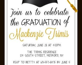 Graduation Party Invitation Customized School Colors