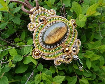 Golden Blue Labradorite Soutache Pendant
