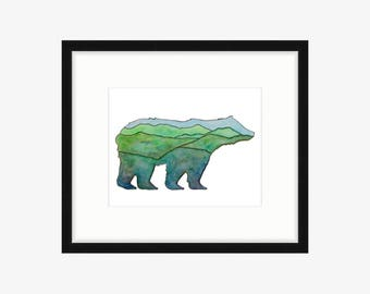 Bear Art Bear painting Bear Silhouette Bear Print Mountain art Bear Watercolor Mountain nursery Mountain print watercolor Mountain decor