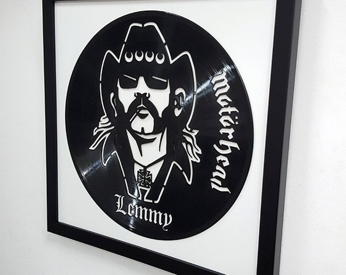 Featured listing image: Lemmy Wall Art -Motorhead Vinyl LP Record  Framed -Great Rock'n'Roll Gift