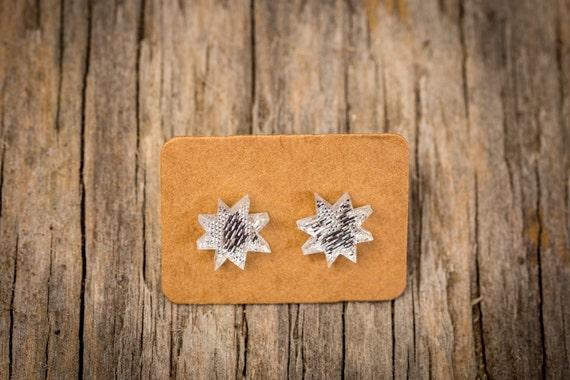 FREE SHIPPING WORLDWIDE - Silver Christmas Stars Earrings - Surgical Steel - Studs - Gift Box - Handmade Bamboo Wood Earrings - Studs