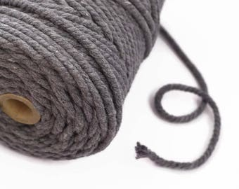 Grey Macrame Cord 4mm - Chunky Bakers Twine - 100m Spool - Twisted Cotton Macrame Rope