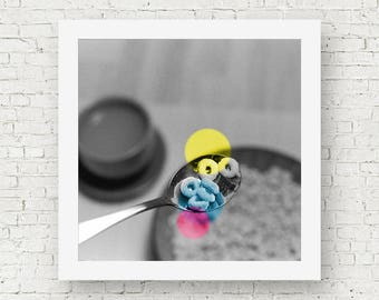 Color pop art photography, square black and white print with pop of color, film photography, black and white photography, vintage wall decor
