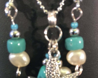 Necklace and Earring Set - Starfish and Freshwater Pearl Cluster Pendant Necklace and Earring Set - FREE SHIPPING