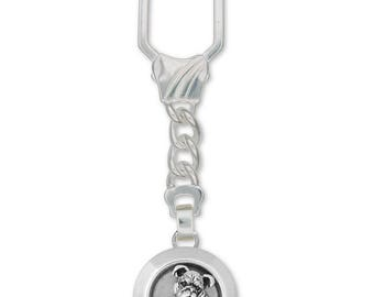 Bulldog Key Ring Jewelry Sterling Silver Handmade Dog Key Ring BD12D-KRE