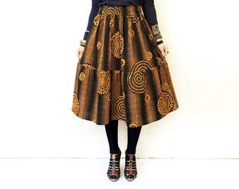 Gathered Skirt, Orange African Skirt, Orange Clothing, Cotton Skirt, Summer Clothes, Midi Skirt with Pockets, Orange Skirt / XS S M M+ L