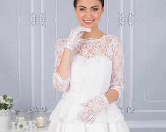 Vintage wedding dress with lace peplum Gill