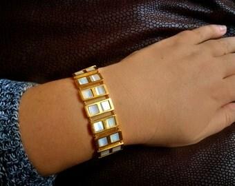 Vintage Napier bracelet, Mother of Pearl MOP gold tone bracelet, Vintage jewelry Vintage Jewellery, Signed vintage bracelet Mothers day gift