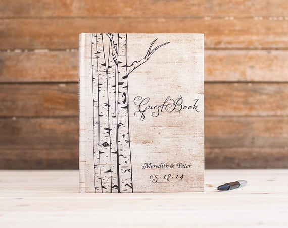 Wedding Guest Book Wedding Guestbook Custom Guest Book Personalized Customized trees woodland wedding birch bark keepsake gift tree book