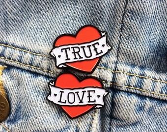 Enamel Pin Badge Set 'True' and 'Love'