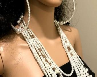 Hoop Earrings. Glass Pearl Earrings. Earrings