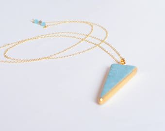 Turquoise Necklace, Long Statement Necklace, Minimalist Gold Geometric Triangle Necklace, Boho Jewelry, Delicate Layering Arrow Necklace