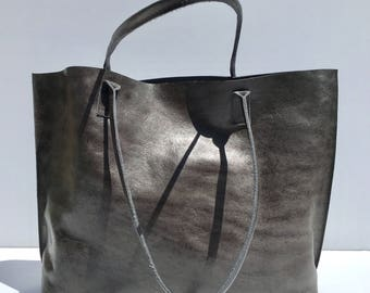 SALE! Large Premium Dark Gray Leather Tote