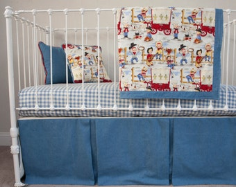 Bumperless Cowboy Nursery Western Nursery Red Blue Plaid Soft Blue Denim Jeans Fabric Designer Baby Boy Crib Bedding
