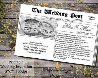 Newspaper Invitation, Newspaper Wedding Invitation, Printable Invitation Wedding Times, Printable Newspaper Invitation, Wedding Post News