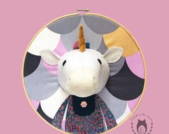 Custom unicorn embroidery hoop wall art, 3D unicorn portrait, 3D wall art, nursery decor, animal portrait, wall hanging, fairy room