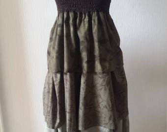 Leaf print, 3 tier maxi dress/skirt Size S/M Handmade