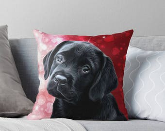 Black Lab Pillow 3BMV - Labrador Pillow - Throw Pillow - Black Lab Decor - Black Lab Gifts - Outdoor Pillow - Dog Pillow - Black Lab Art