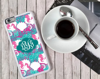 Preppy iPhone 7 Case Monogrammed iPhone 7 6 6s 5 5c 5s S6 Edge Samsung S6 S5 Tough Plastic Custom Lilly Inspired Seahorses Nautical