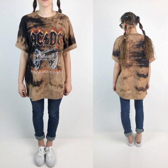 AC/DC Bleach Band Tee XL Unisex - Tie Dye Baggy Black Brown Graphic Tee Shirt - Grunge Rock N Roll Bleach Dyed Band Shirt Plus Size Tees