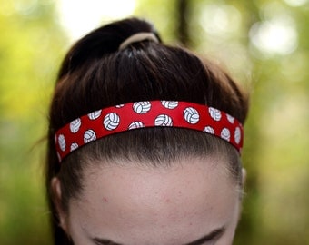 Red Womens Sport Volleyball Headband - Volleyball Team Headbands for Girls - Athletic Headband Adult Volleyball Gifts - Red Headband