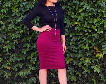 Pencil Skirt - Women's Tube Skirt - Long Knee Length Skirt - Tight Pencil Skirt - Fitted Skirt - Petite Skirt - Tall Skirt - Plus Size Skirt