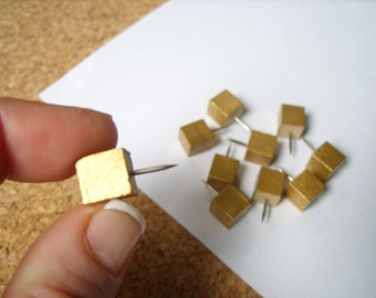 Square Gold Push Pins, Decorative Tacks, Gold Desk Accessory, Cute Office Accessories, Chic Office, Cubicle Decor, Metallic Decor, Gold Tack